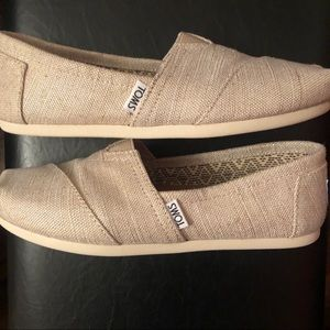 Natural Metallic Burlap TOMS Slip-Ons